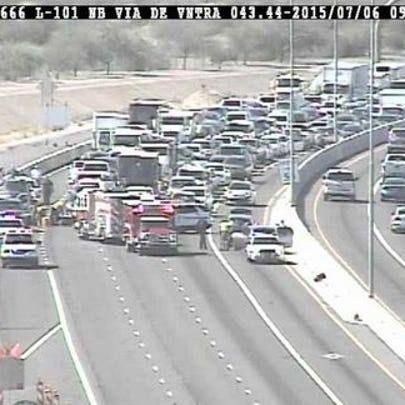 All northbound lanes of Loop 101 closed after a serious