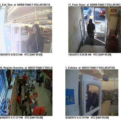 Surveillance footage of Family Dollar stores.