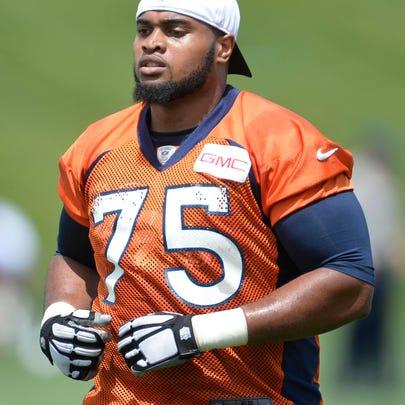 June 9, 2015; Englewood, CO, USA; Denver Broncos tackle