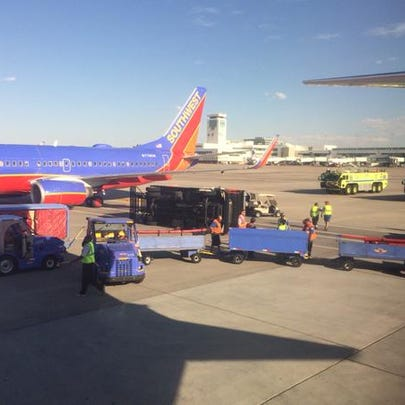 A Southwest plane made contact with a catering truck