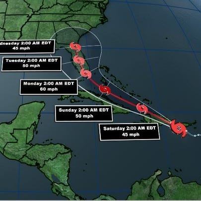 The consensus track from the National Hurricane Centerl