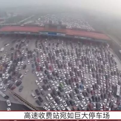 Epic traffic jam in China