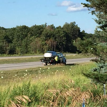 One of five vehicles involved in a crash on eastbound