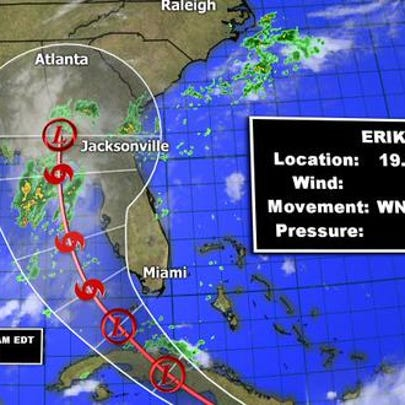 Erika track as of 5 a.m. Saturday