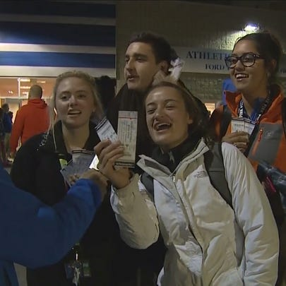 Boise State students waited in line overnight to get