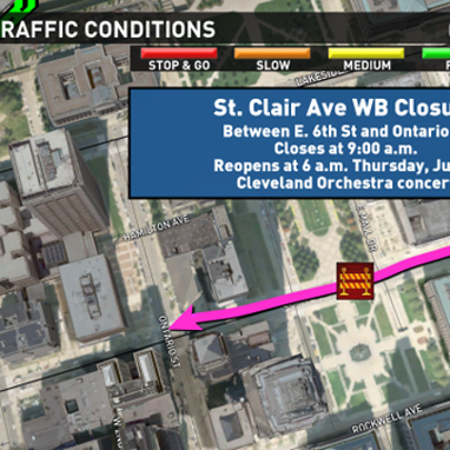 St. Clair Avenue is scheduled to close to westbound