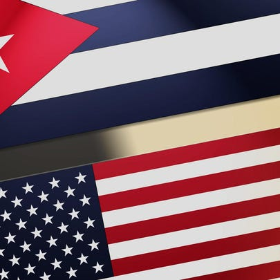Flags of Cuba and the United States of America