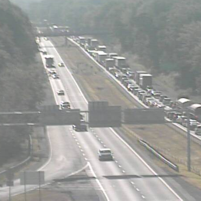 Stop and go traffic on i-76 EB at SR 21 in Summit County.