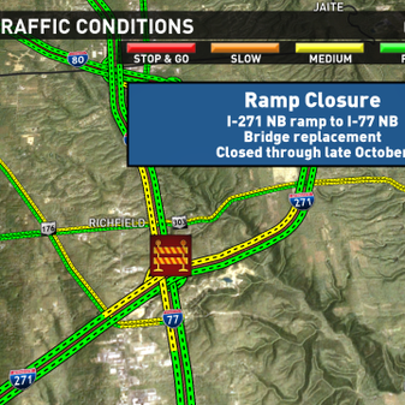 I-271 NB ramp to I-77 NB in Summit County is scheduled