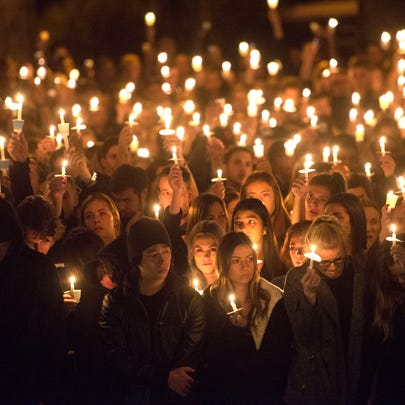 NAU students attend the candlelight vigil following
