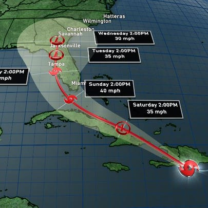 The consensus track of Erika from the National Hurricane