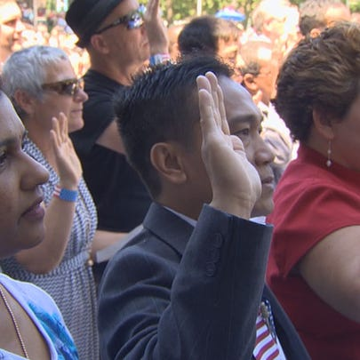 More than 500 people were sworn in as U.S. citizens
