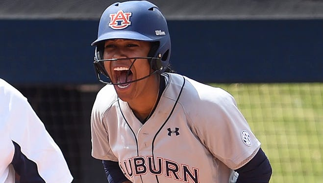 Jade Rhodes hit an RBI triple to spark a four-run fifth in Auburn's 7-4 win over South Alabama Sunday.