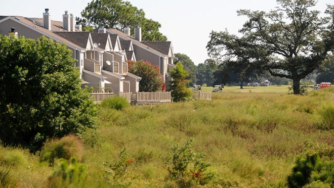 The overgrown back nine on the golf course at Tiger Point Golf Club is seen in this 2010 file photo.