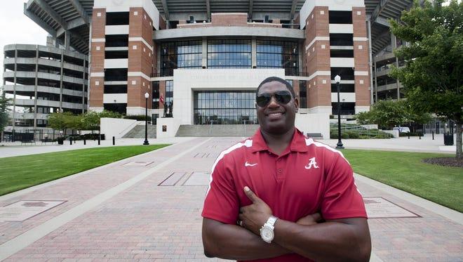 John Copeland in Tuscaloosa, Ala. on Tuesday July 28, 2015. Copeland, an Alabama and Cincinnati Bengals football standout, will blog about Alabama football games this season.
