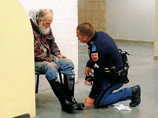 On Jan. 3, 2013, Officer Jose Flores bought a pair of boots and a package of socks for a homeless man Flores checked on outside of the Lowe's Home Improvement store at 12100 Montana Ave. The story was broadcast across the country after it was initially reported by Channel 14-KFOX.