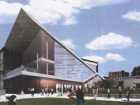 An artist's rendering of the Cincinnati Symphony Orchestra's proposed concert venue at The Banks