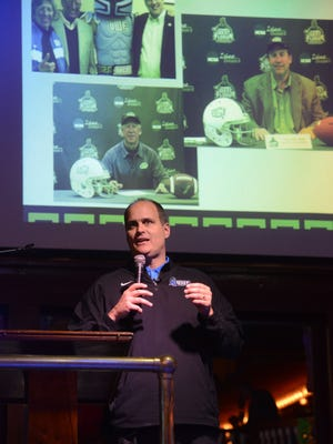 UWF coach Pete Shinnick addresses crowd at Seville Quarter for UWF's first national signing day party in 2015. Argos set to unveil 2017 class on Wednesday.