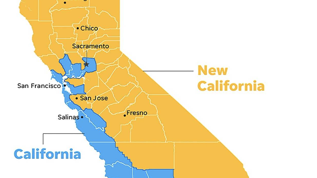 New California Declares Independence From California In Statehood Bid - State check off map