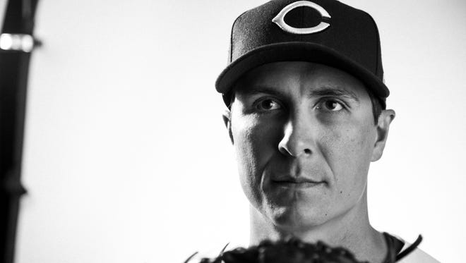 Cincinnati Reds starting pitcher Homer Bailey (34) poses during picture day at the Cincinnati Reds training complex in Goodyear, Ariz., on Tuesday, Feb. 20, 2018.