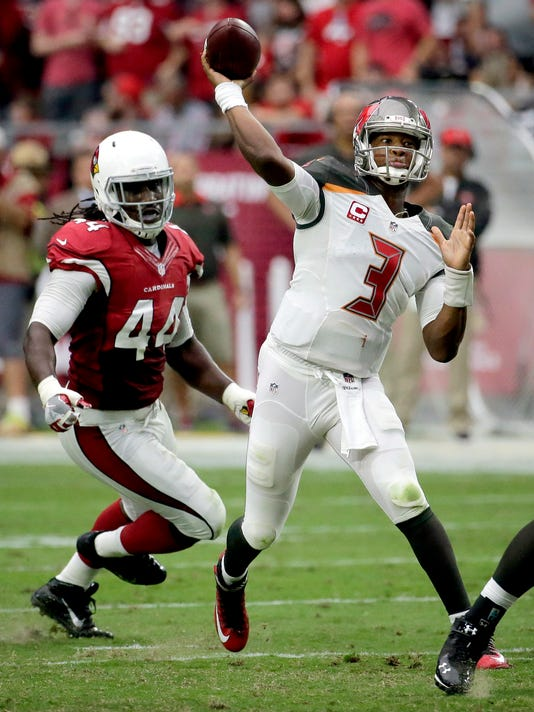 Tampa Bay Buccaneers quarterback Jameis Winston (3) throws under pressure from Arizona Cardinals defensive back Marcus Cooper (41) during the second half of an NFL football game, Sunday, Sept. 18, 2016, in Glendale, Ariz. (AP Photo/Rick Scuteri)