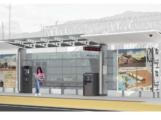 The third of three design concepts for a bus station along the 4th Street/Prater Way corridor