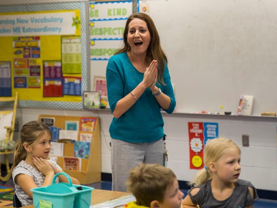 Jenna Garcia, a second-grade teacher at Laurel Oaks Elementary, becomes excited when she finds out that the school principal and assistant principal won first place in the Stand Up for Justice Awards.