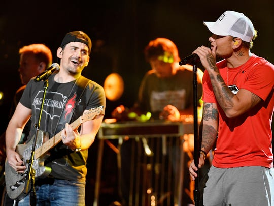 Kane Brown rehearses with Brad Paisley for their performance