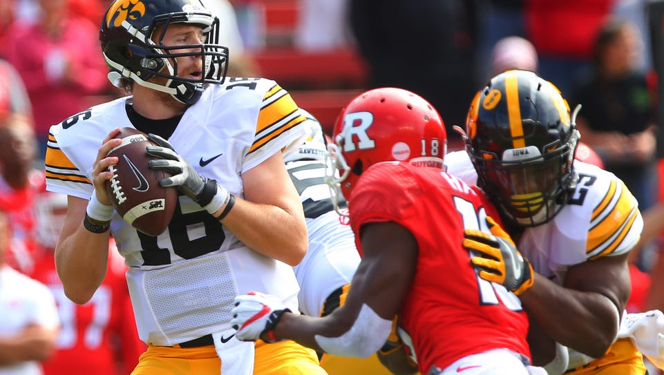Iowa quarterback C.J. Beathard has had to spend too