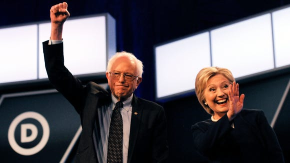 Democratic presidential candidates Bernie Sanders and Hillary Clinton.
