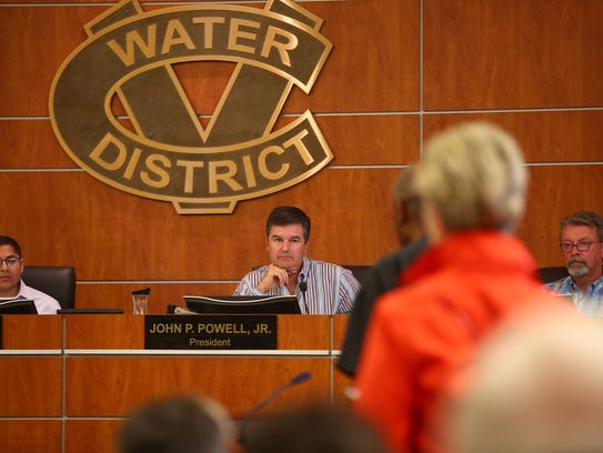 John Powell, Jr., president of the Coachella Valley Water District board, listens to comments from the public during a June 2016 meeting.