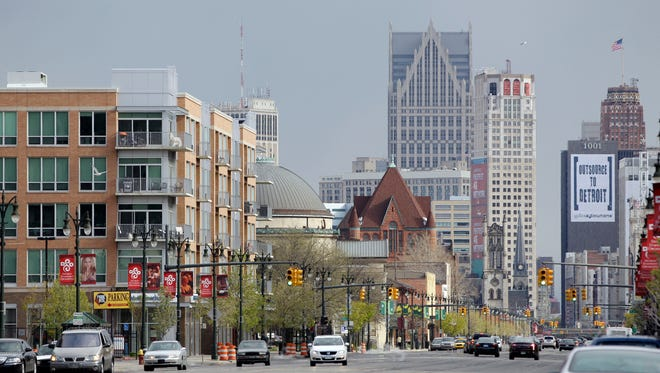 In a photo from Tuesday, April 2012, a view of Midtown is seen looking south on Woodward Ave. in Detroit.
