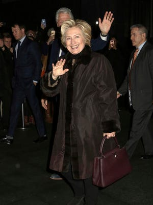 "Former Secretary of State Hillary Clinton attends the Broadway a cappella musical ""In Transit"", at Circle in the Square Theatre, on Wednesday, Feb.1, 2017, in New York."
