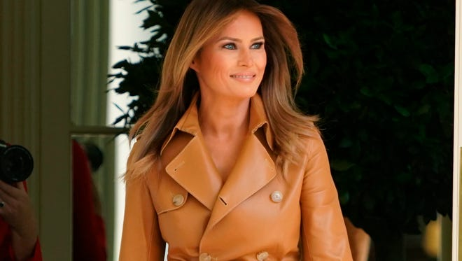 First lady Melania Trump announced her FLOTUS agenda in the Rose Garden at the White House on May 7, 2018.