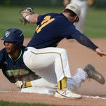 Richmond RiverRat Jeff Kammer tags out Jamestown's Jalen Washington as he attempts to steal third base Tuesday on John Cate Field at McBride Stadium in Richmond.