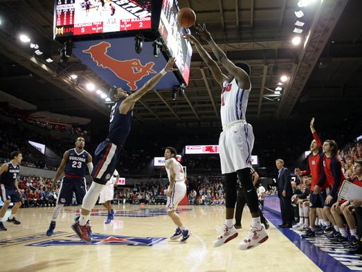 SMU guard Shake Milton (1) shoots against Gonzaga guard