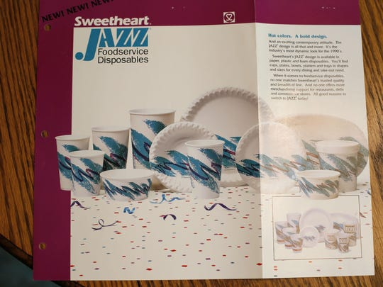 Sweetheart Cup Company produced this sales brochure to promote the launch of the Jazz design. Fans have launched a Facebook page and Tumblr featuring various places the pattern has ended up.