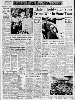 The front page of the Asbury Park Evening Press on Oct. 8, 1964.