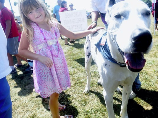 Sydney Hamilton, 5, of St. Thomas pets SoCo a Kindly Canine during Peach Festival in Fort Loudon on Saturday.