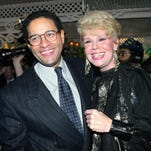 "NBC's ""Today"" show co-anchor Bryant Gumbel, left, and former member of the morning television show Betsy Palmer pose at the 40th anniversary party for the show in New York City."