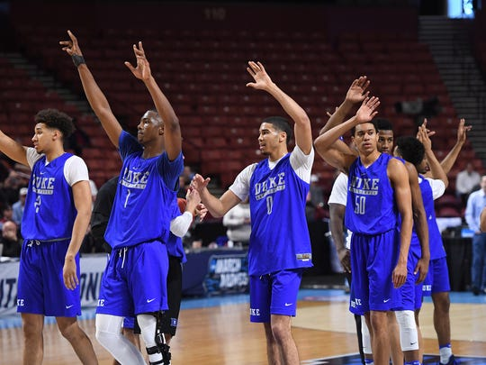 Duke practices for the NCAA Tournament at Bon Secours