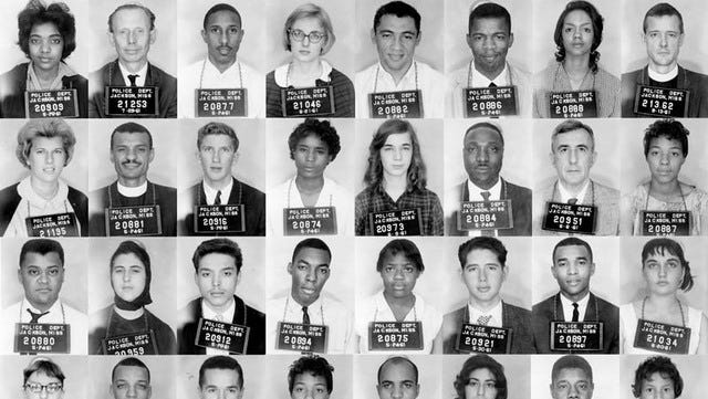 Police in Jackson, Mississippi, arrest wave after wave of Freedom Riders, who are traveling to protest segregation. Many are sent to the state's worst prison in Parchman.