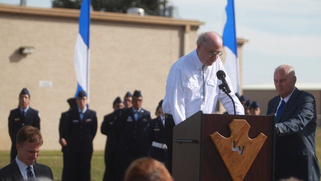 Lake View alumni Duane Helwig speaks at a ceremony dedicating a brick monument in honor of Lake View's history in November of 2015.