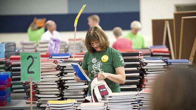 Each year, volunteers from Colorado State University fill backpacks with new school supplies for students in the Poudre School District who might not be able to afford them. A $25 donation fills one backpack for a student in grades kindergarten through high school.