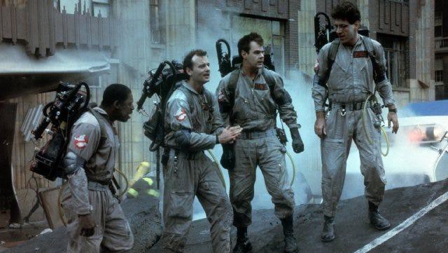 "Dan Aykroyd, Bill Murray, Harold Ramis and Ernie Hudson in ""Ghostbusters"" (1984)."