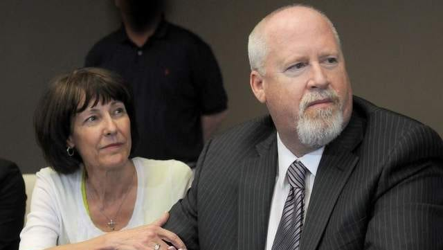 Annette and Harvey Whittemore appear at a news conference on May 29 after he was found guilty of federal campaign finance violations. Lawyers for Whittemore are asking the Nevada Supreme Court for an emergency hearing so they can argue for the reinstatement of his suspended law license.