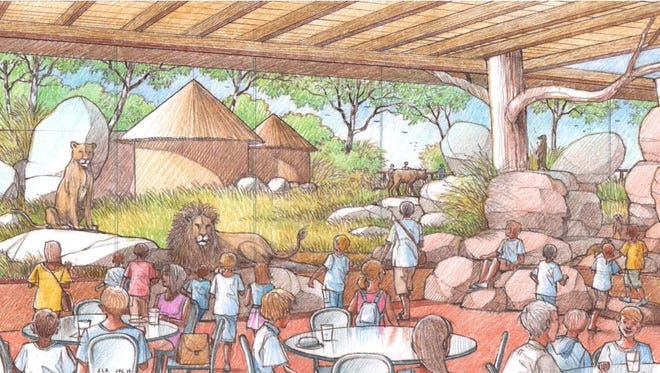 An artist's rendering of the Great Plains Zoo's forthcoming lion exhibit