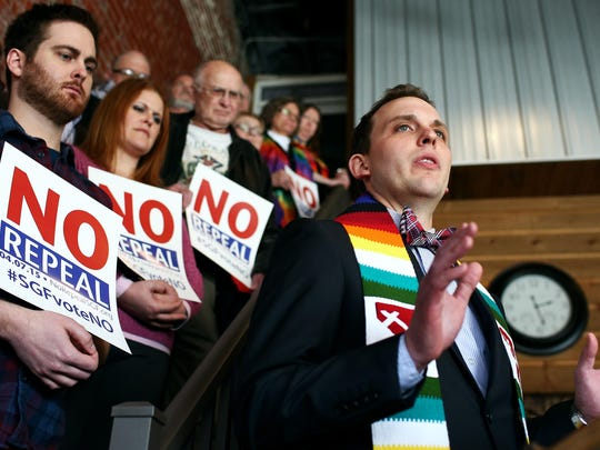 The Rev. Caleb Lines of South Street Christian Church speaks in opposition to repealing the city of Springfield's SOGI nondiscrimination ordinance at a One Springfield event on Feb. 26, 2015.