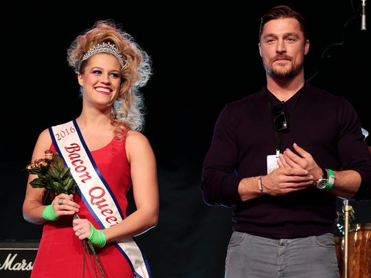 2016 Bacon Queen Allison Schafer stands next to bachelor