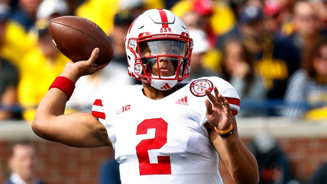 Nebraska quarterback Adrian Martinez throws a pass against Michigan in the first half of an NCAA football game in Ann Arbor, Mich., Saturday, Sept. 22, 2018. (AP Photo/Paul Sancya)